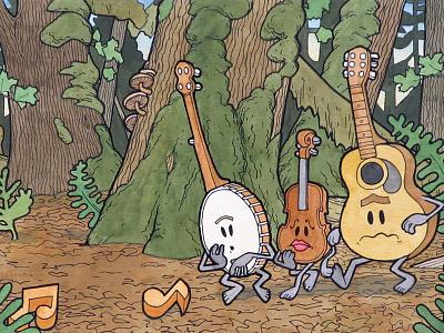 On The Trail violin fiddle guitar banjo landscape music forest illustration art