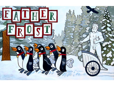 Father Frost forest white funny crow landscape penguin snow painting illustration