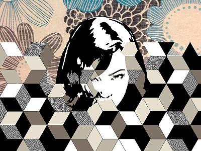 More Than Darkness Lies Between Us woman hexagon cube pattern face