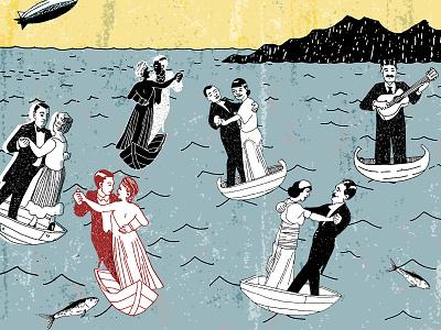 Boat Dance blimp guitar ocean sea boats music dancing dance drawing illustration