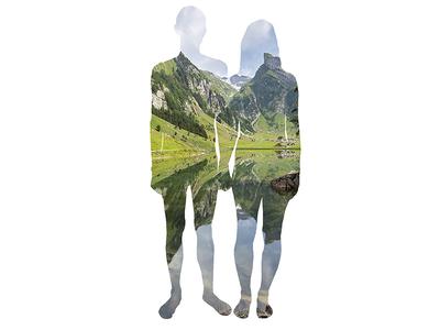 landpeople illustration mural couple landscape