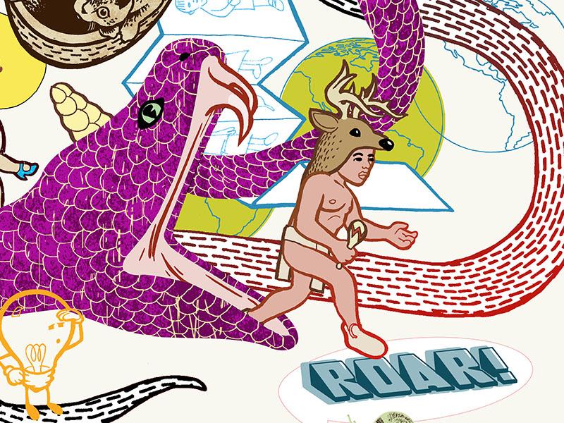 Roar! fun shamanism drawing illustration deer color snake