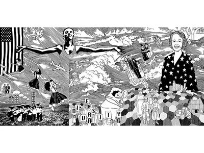 Diversity america mural diversity sleep stars illustration black and white