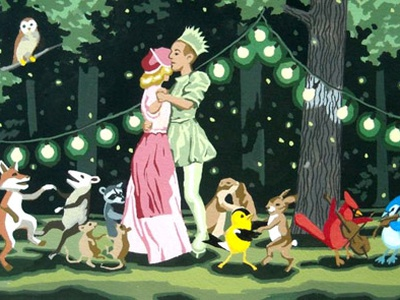 The King and Queen of the Forest vintage illustration forest green animals dance music night