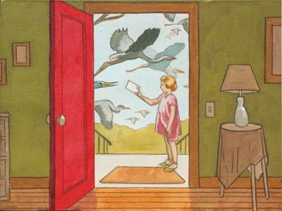 Special Delivery vintage illustration birds letter mail girl
