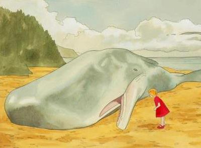 Dying Words vintage illustration whale sea ocean girl beach