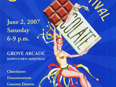 Chocolate Festival Poster vintage illustration poster chocolate blue woman french asheville grove arcade