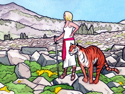 Kathryn and the Tiger illustration woman heroine tiger blue orange sword mountains