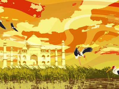 India illustration india taj mahal cranes orange swirl marsh sky colorful psychedelic