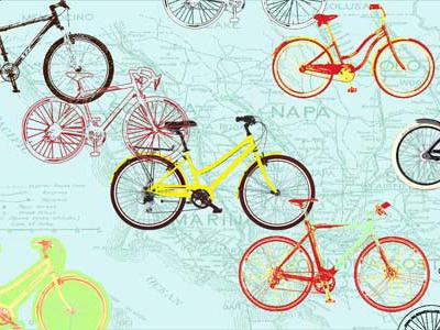Bicycle bicycles red blue yellow illustration ride napa california bike shop