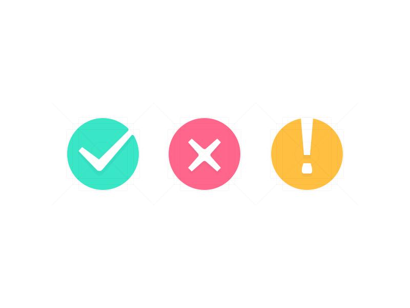 Feedback Icon careful warning wrong fail error right success icon