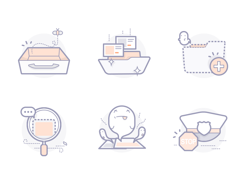 Default Illustrations noting search illegal inbox nothing
