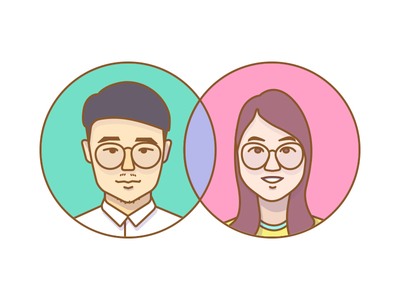Couple's Portrait couple lovers wife and husband head face portrait