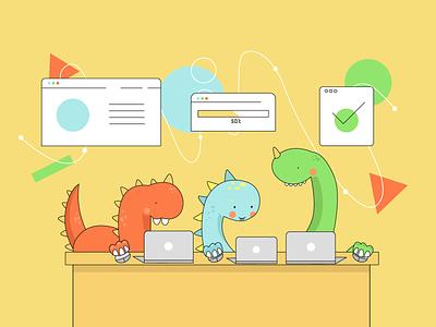 Dinosaurs at the laptop flat web animation app holiday vector design illustration laptop