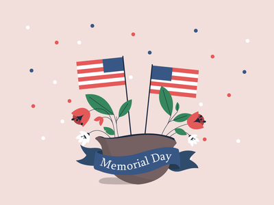 Memorial Day flat design vector memorial day flyer memorial day holiday people illustration