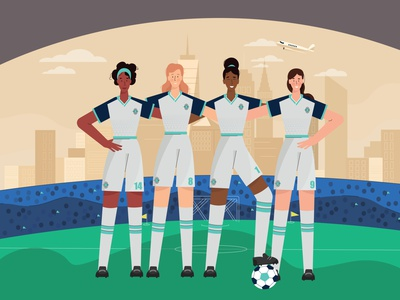 Football people girl illustration girl design city new york flat vector illustration woman sport soccer football