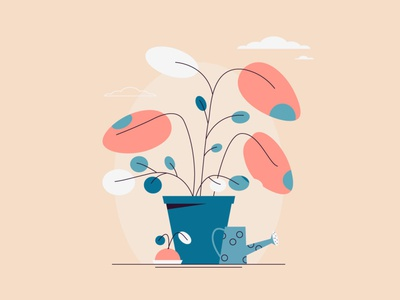Garden botanica plants web vector flat illustration garden