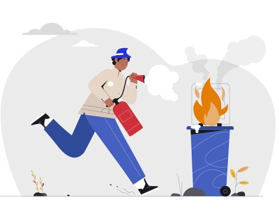 Firefighter extinguishes web people flat design vector illustration firefighter