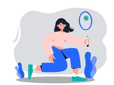 tennis web people vector flat holiday illustration design