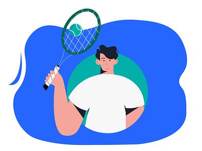 man tennis holiday tennis animation flat web vector illustration people design