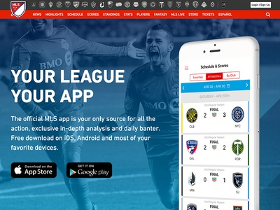 Major League Soccer: Mobile App Marketing Page