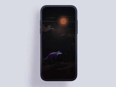 Full moon night howling dynamic illustration moon dark night wolf vector illustration mobile interface ui design animation 设计 gif
