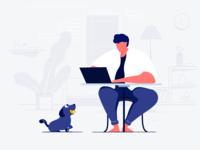 Enjoy your work character furniture the man flower room dog grooming web lovely dog interface ui design illustration
