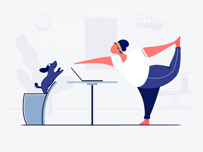 Doing Yoga character vector lovely man sport motion yoga dog groom web interface design comfortable illustrator illustration