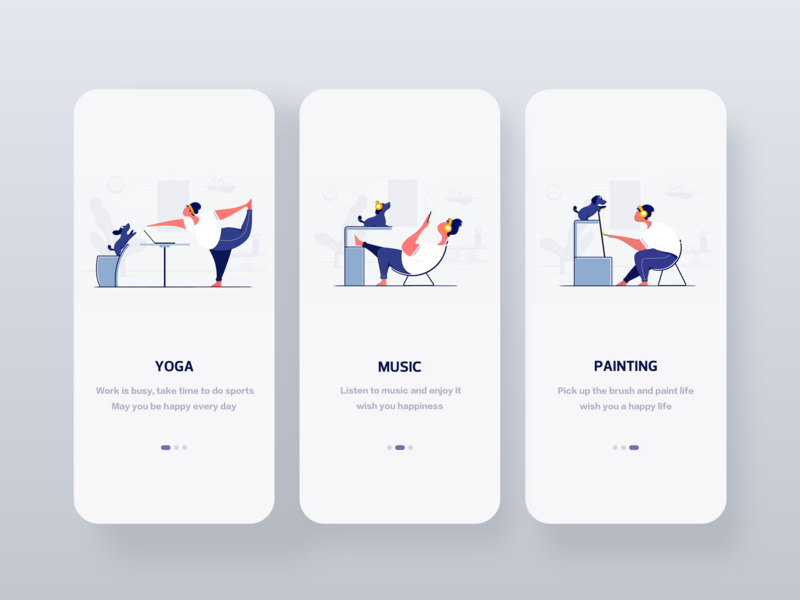 Illustration Collection character panting music yoga iphonex ui guide man dog room clean comfortable guide pages ui deisgn illustrator illustration