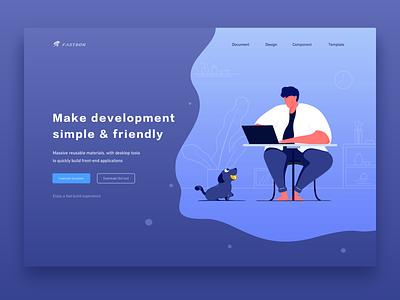 Rapid Development Platform development platform illustrator manning dog vector 设计 ui design illustration web