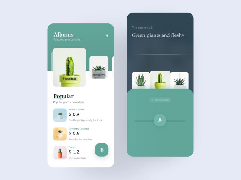 《Bear Plant》 ui intelligent e-commerce search form ios bear illustration course app mobile app design app ux voice green card button plant design interface ui