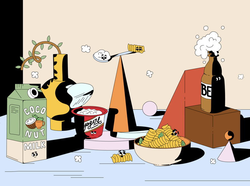 Editorial Illustration chips pasta milk beer fun colorful faces smiley eco food shadows graphic vivid vector art flat design illustration