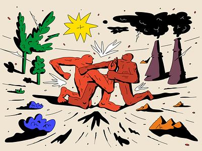 Editorial Illustration shadows characters sun fight enviroment ecology trees men people shades graphic vivid vector flat design illustration