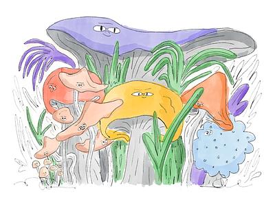 Mushroom gang saintpetersburg doodle drawings smiley characters mushrooms pencil paper watercolor paint shades vivid art design illustration
