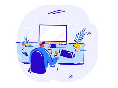 Job hunting illustrator moscow job character vivid vector illustration