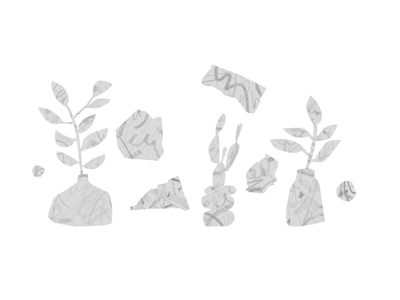 Just plants monochrome grey abstract messy paint illustration vector plants
