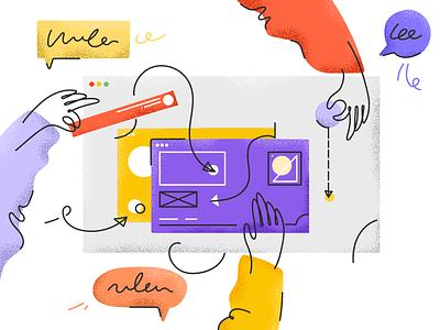 Collaboration art вектор иллюстрация texture colors collaboration window browser hands graphic ui russia saintpetersburg noise shades vector flat design illustration