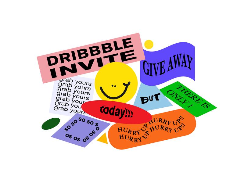 Dribbble invitation giveaway bright invitation poster stickers fun typography vivid invite vector art flat russia design illustration