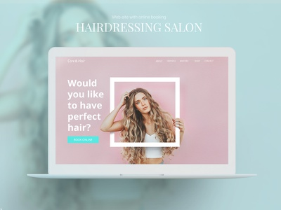 Hairdressing salon site with online booking pink hairdressing hair uiux salon