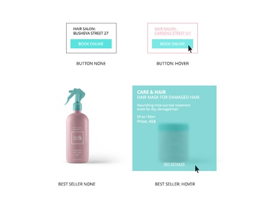 Elements for Care&Hair site uiux salon pink hairdressing hair