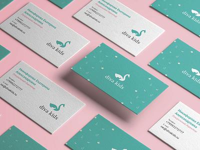 Diva Kids logo design logotype logo business card bcard swan cub swan