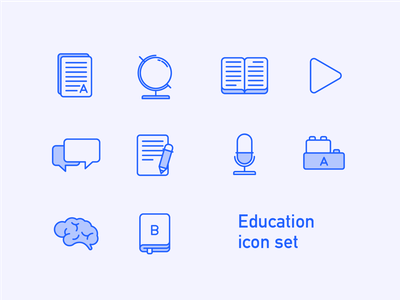 Education Icon Set Preview icon set globe dialog game document pen brain books microphone play school icons education icons school icon educational workshop line art lineart