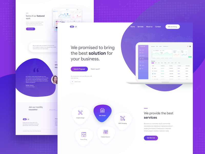 UI Agency landing page website new popular trend blog homepage header exploration app ios android saas b2b crypto trending product typography concept user experience ux user interface ui web design template agency website