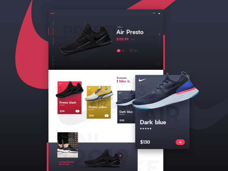 Nike Air Presto landing page nike ecommerce dark ui web design new popular trend nike homepage trendy design 2019 2019trend ios android app design isometric ecommerce design ecommerce shoe landing page nike landingpage landingpage nike