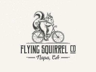 Flying Squirrel logo fluffy tail scarf goggles bike squirrel flying drawing design emblem sign logo
