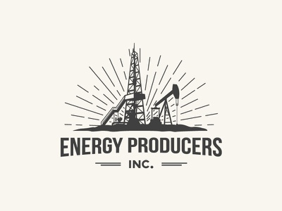 Logo made for a company which extract oil and gas. onshore drilling-rig pump-jack petroleum gas oil energy industrial emblem sign design logo