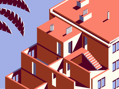 somewhere house isometric pipes doors window palm tree building
