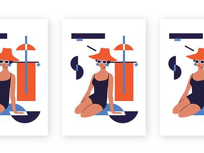Lellen print geometric hat swimwear illustration abstract sunglasses beach girl