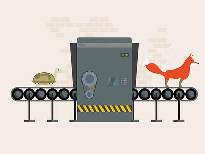 Optimization Machine conveyor turtle fox optimization optimize machine illustration