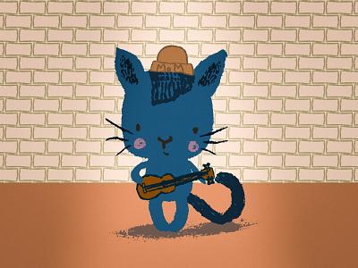 Kitty MoM spotlight brick cute music cat ukelele guitar kitty illustration